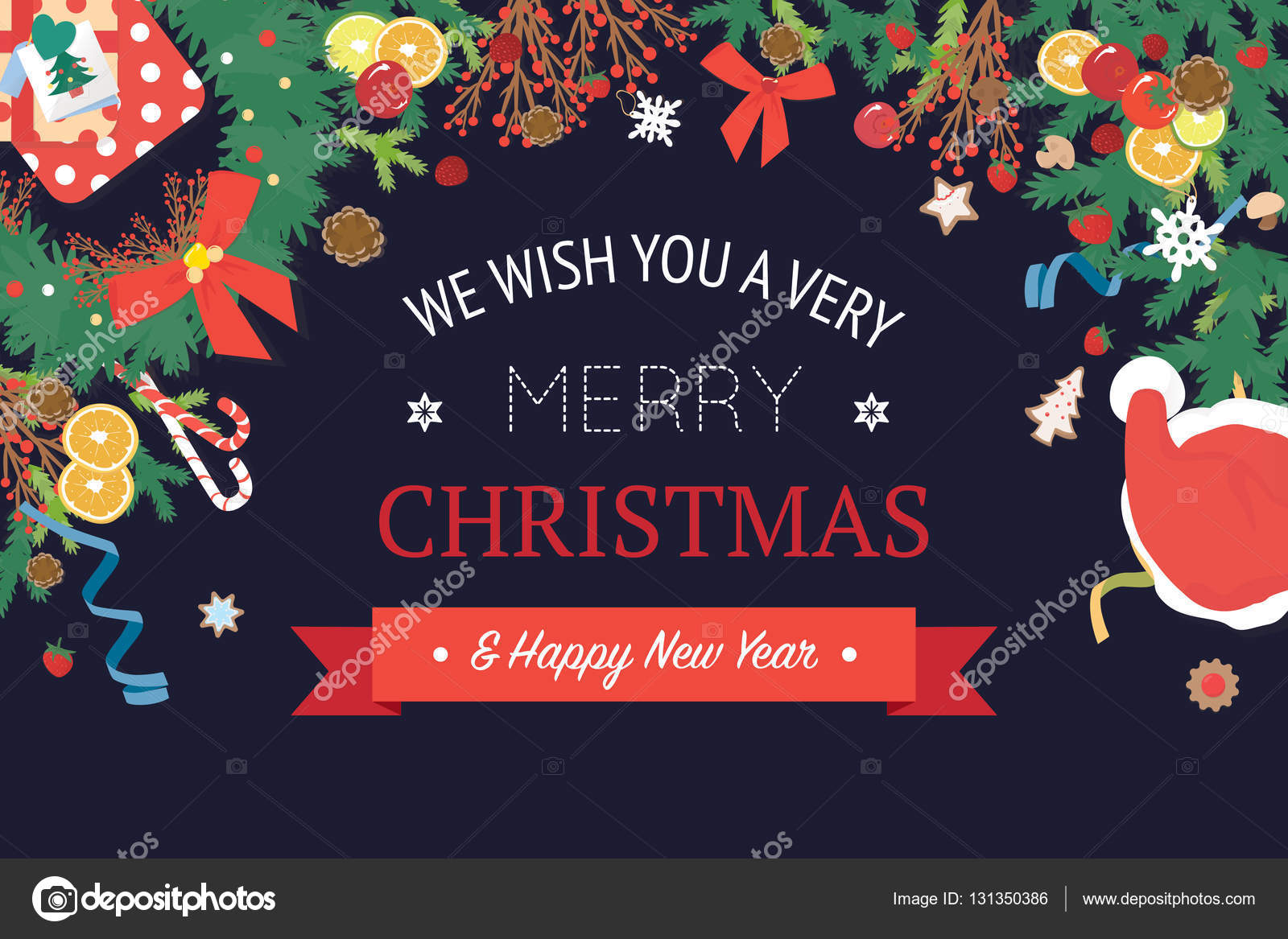 christmas and happy new year banner stock vector