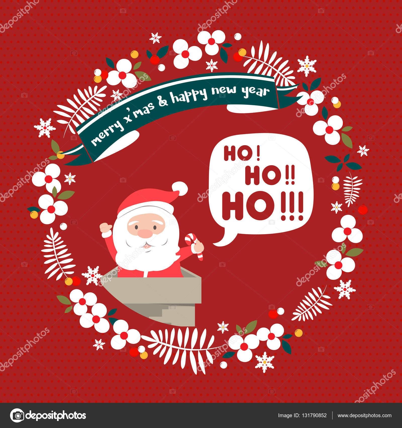 Ho Ho Ho Frohe Weihnachten.Frohe Weihnachten Grusskarte Santa Hohoho Stockvektor