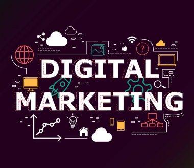 Creative illustration of Digital marketing word lettering typogr