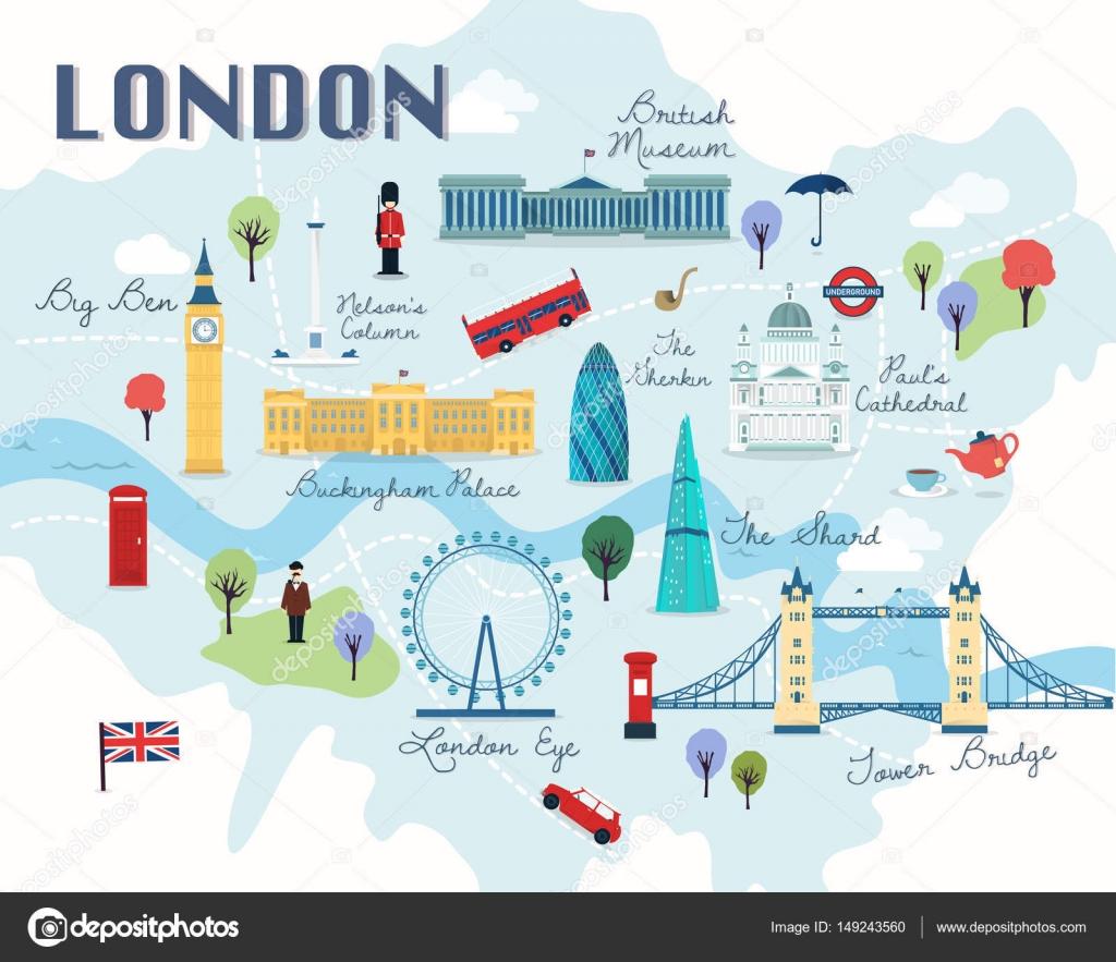 mapa de atrações de londres Mapa de atrações de Londres vetorial e ilustração — Vetores de  mapa de atrações de londres