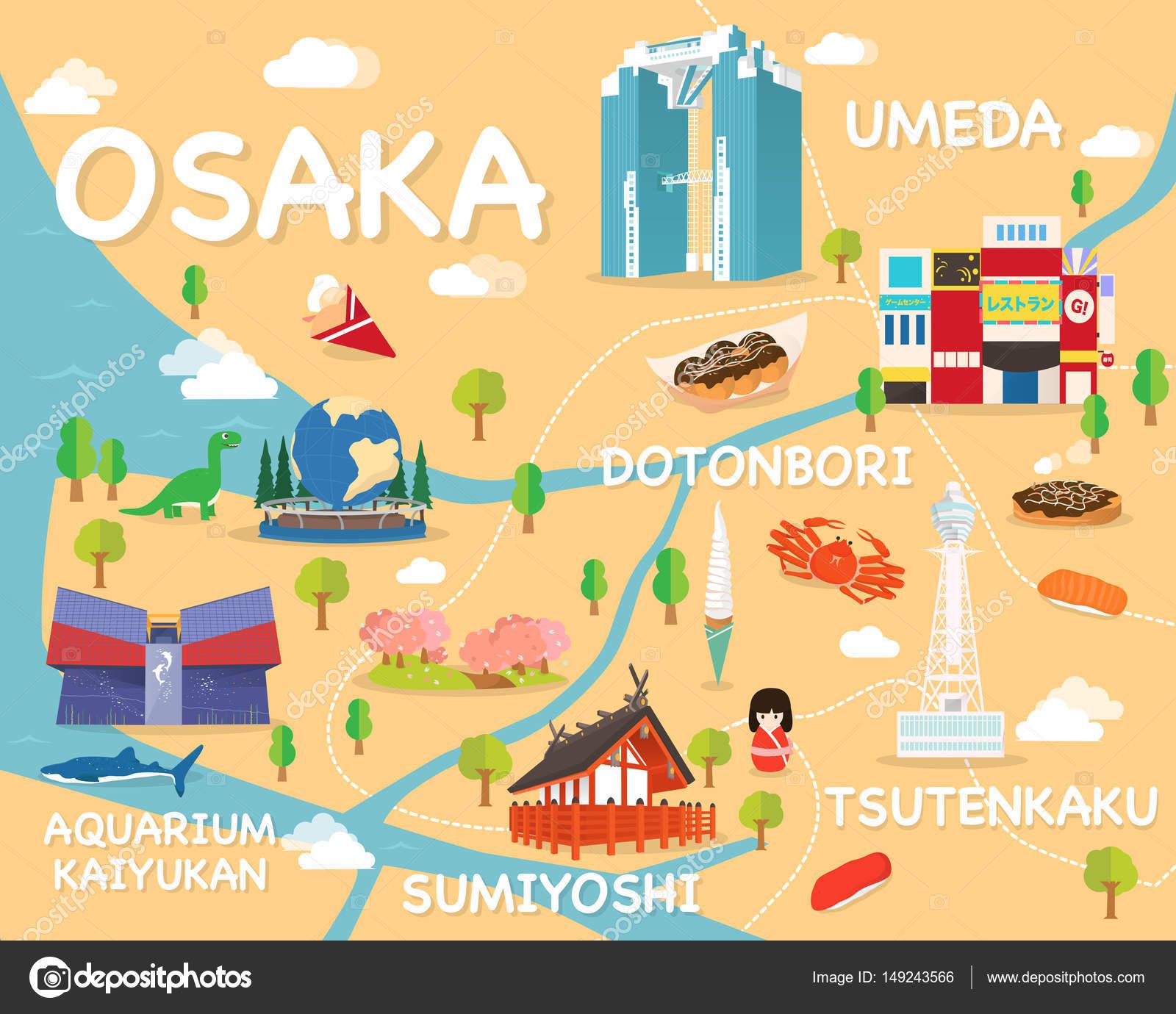 大阪の観光名所の地図イラストとベクター ストックベクター