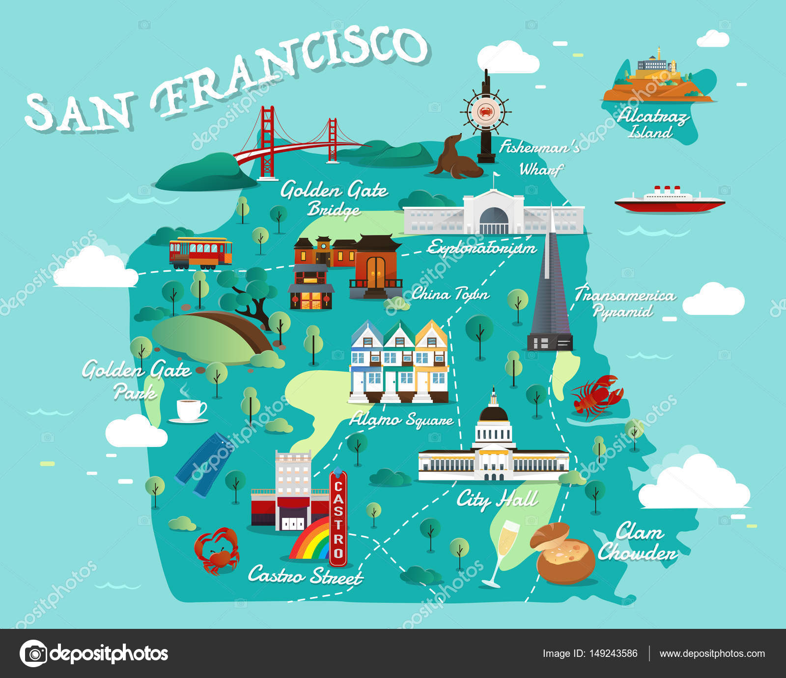 Map Of San Francisco Attractions Vector And Illustration Stock