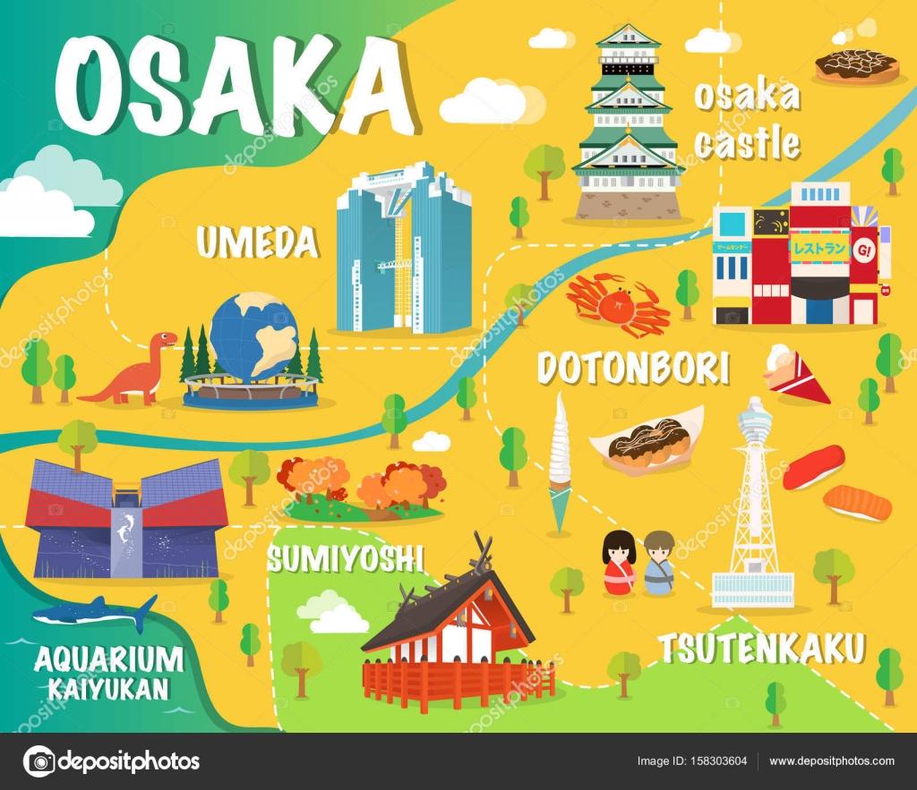 Osaka map with colorful landmarks Japan illustration design Stock