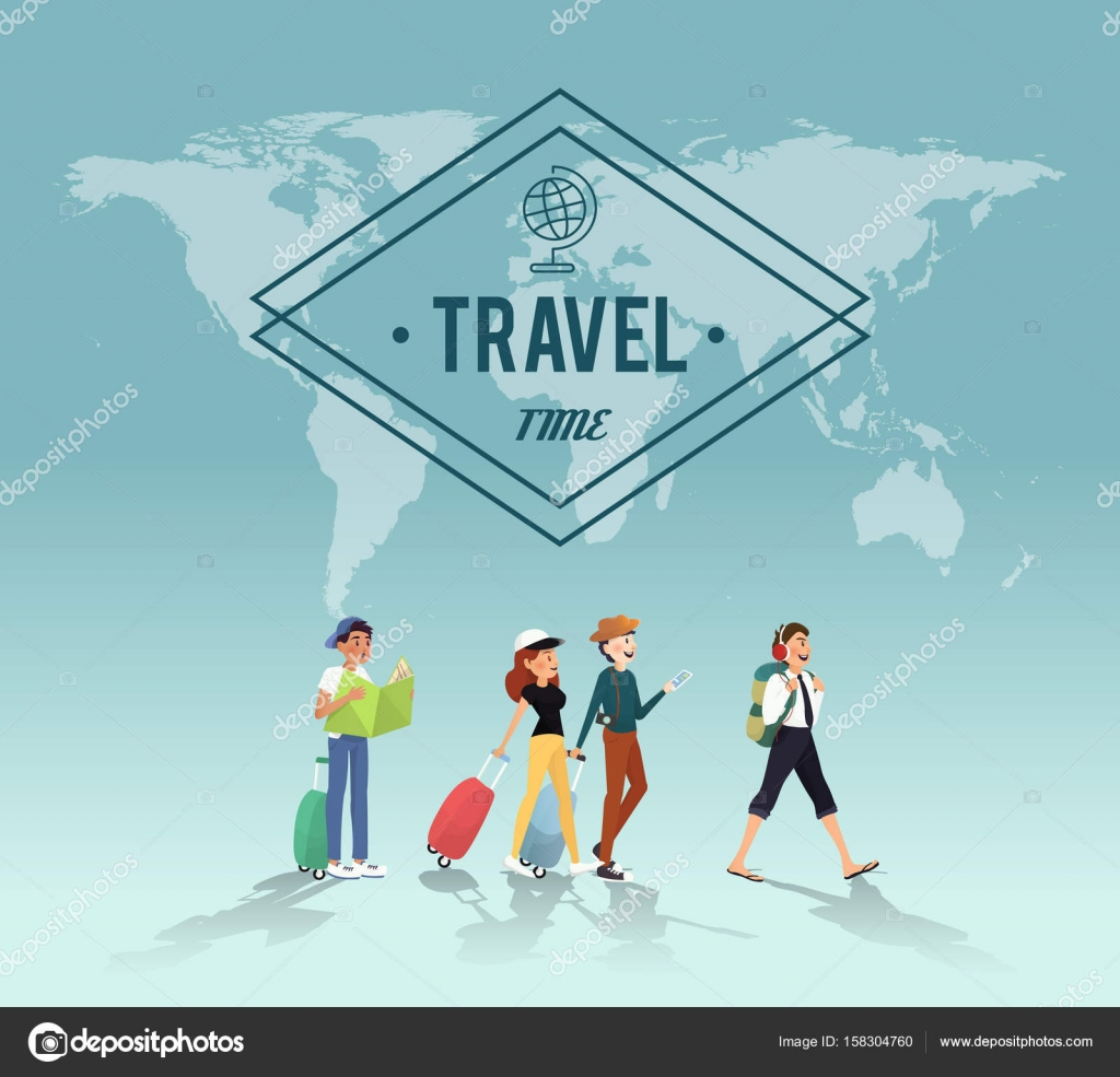 traveling around the word with friends illustration design stock