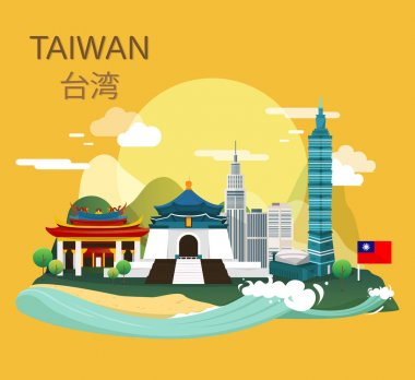 Amazing tourist attraction landmarks in Taiwan illustration desi