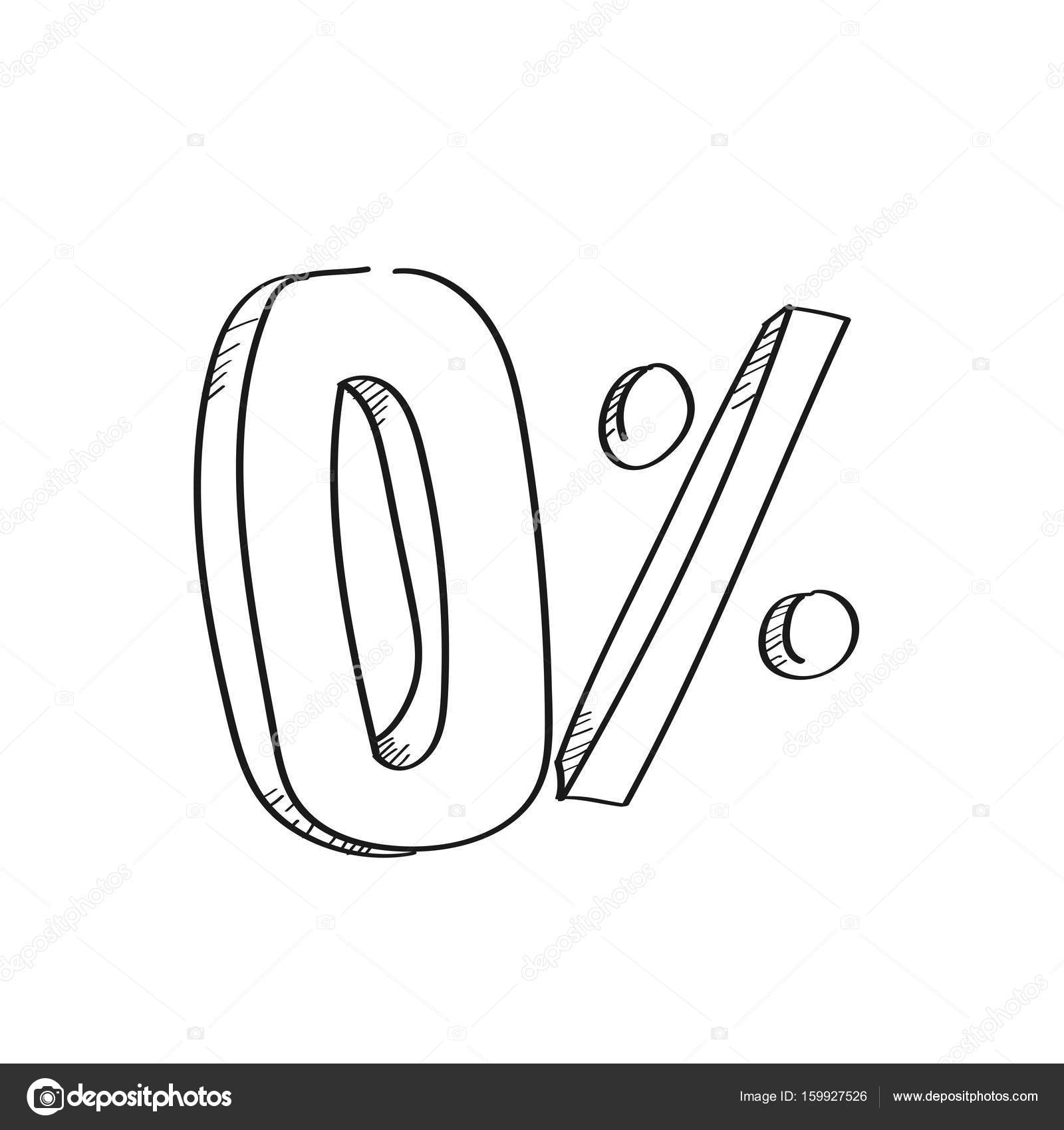 Cero porcentaje de descuento de la ilustración dibuja a mano alzada ...