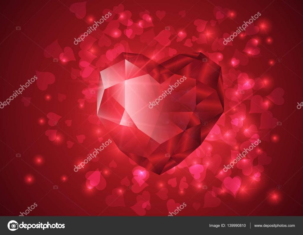 En Forma De Corazón Rojo De La Piedra Preciosa Diseño