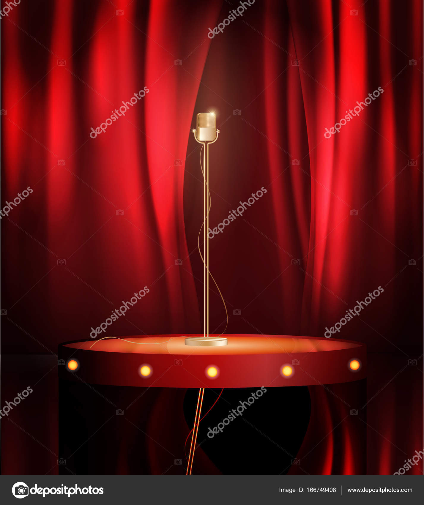 Vintage metal microphone on stage with red curtain backdrop. mic on ...