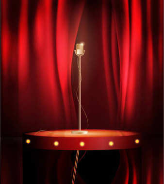 Vintage metal microphone on stage with red curtain backdrop. mic on empty theatre stage, vector art image illustration. stand up comedian night show or karaoke party background with text space. retro