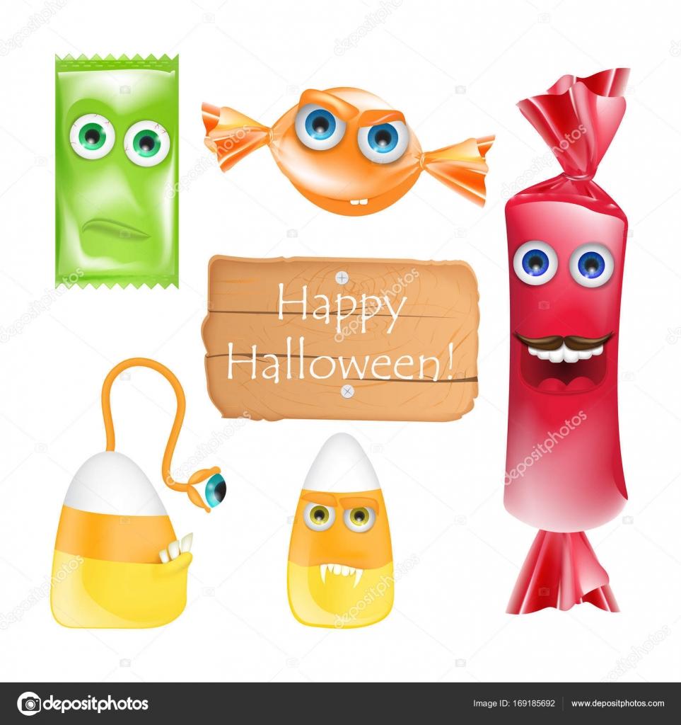 Diseño con monstruos de caramelos en Halloween. Conjunto de vector ...