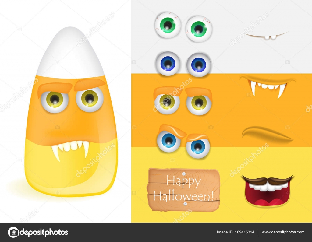 Cute halloween candy corn monster with various faces. Halloween ...