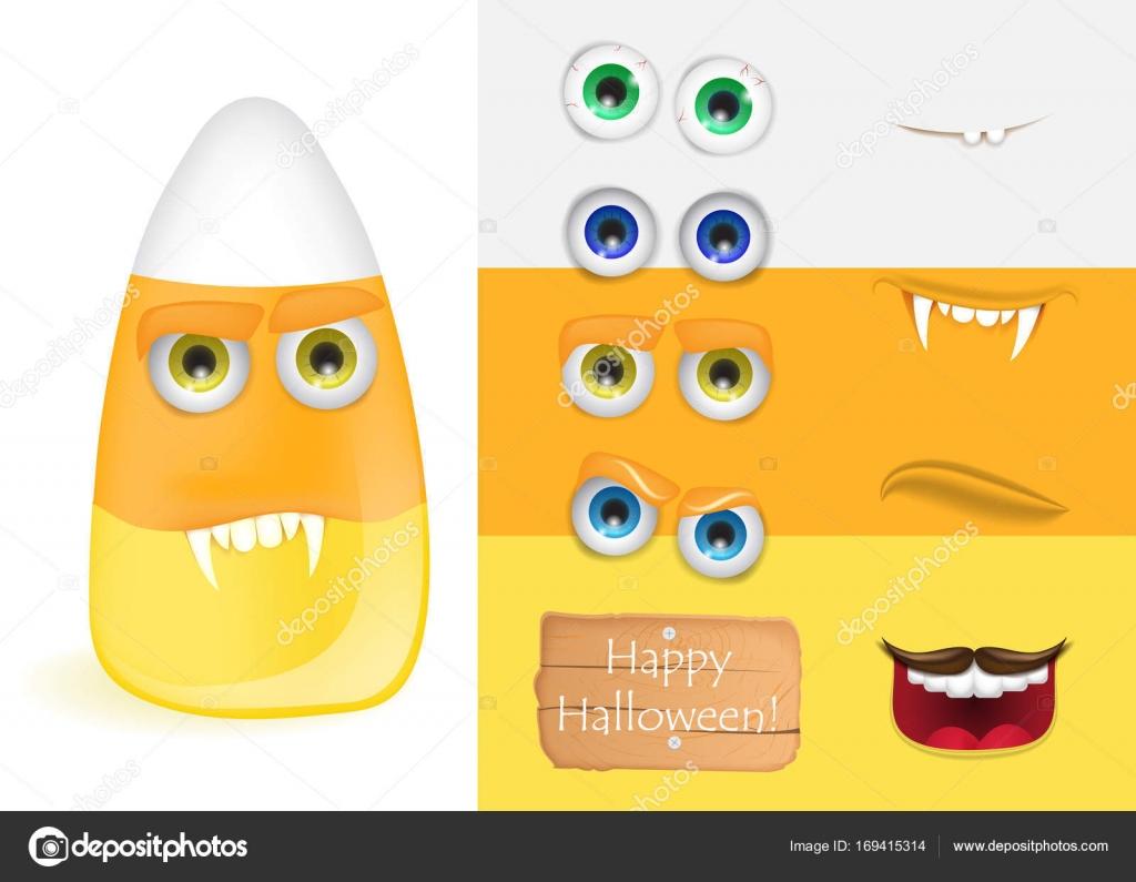 Cute Halloween Süßigkeiten Mais Monster mit verschiedenen Gesichtern ...