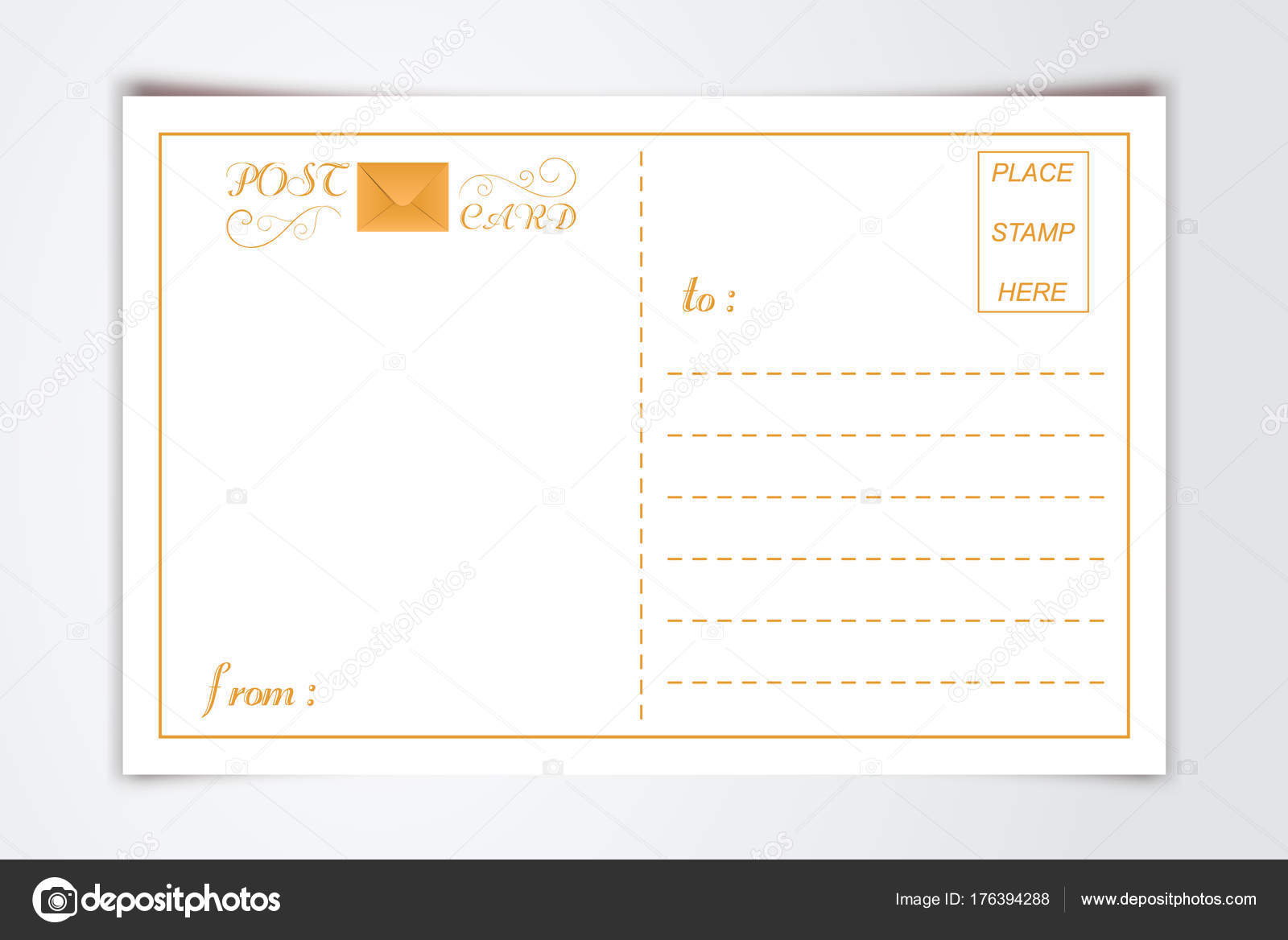 Modern Postcard Inner Reverse Side Blank Template With Logo Typography Paper Background Vintage Style Vector