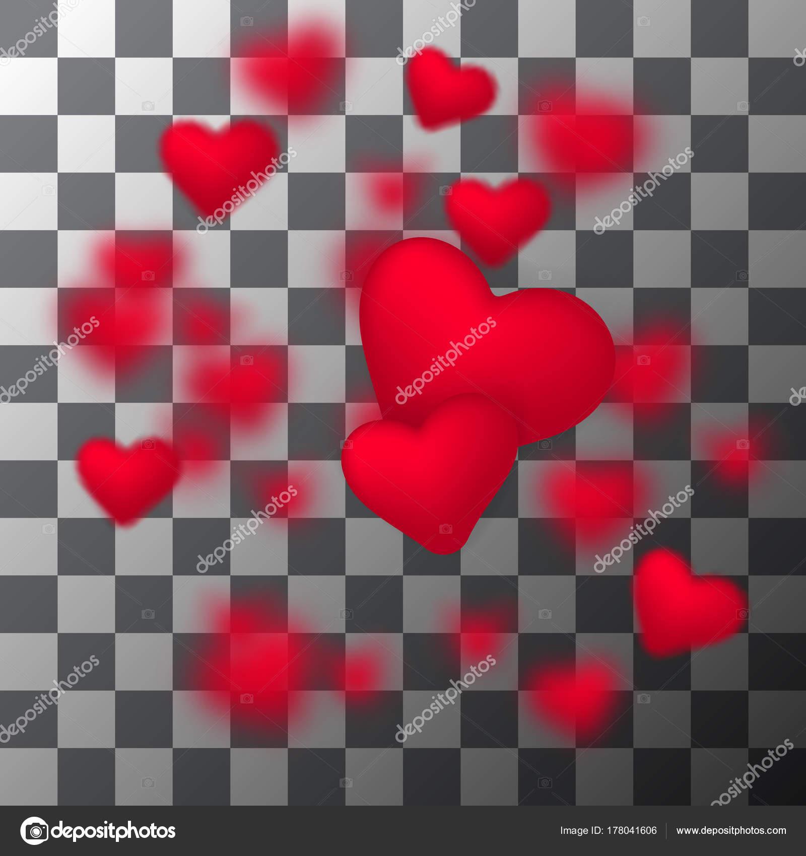 Vektor Rahmen fallenden kleine funkelnde rote Herzen auf ...