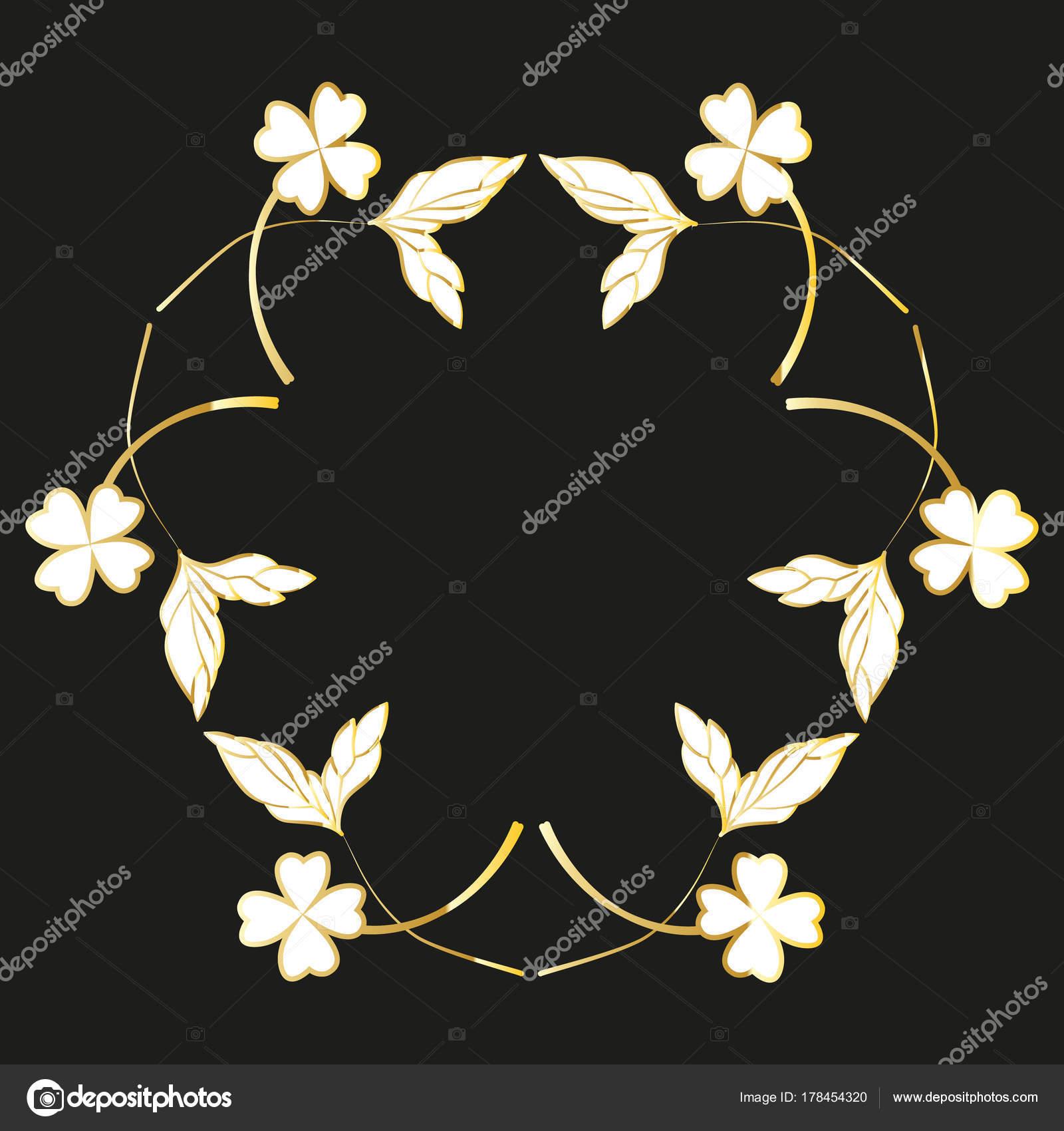 Golden Gemalten Blumenkranzen Und Lorbeeren Vintage Goldene