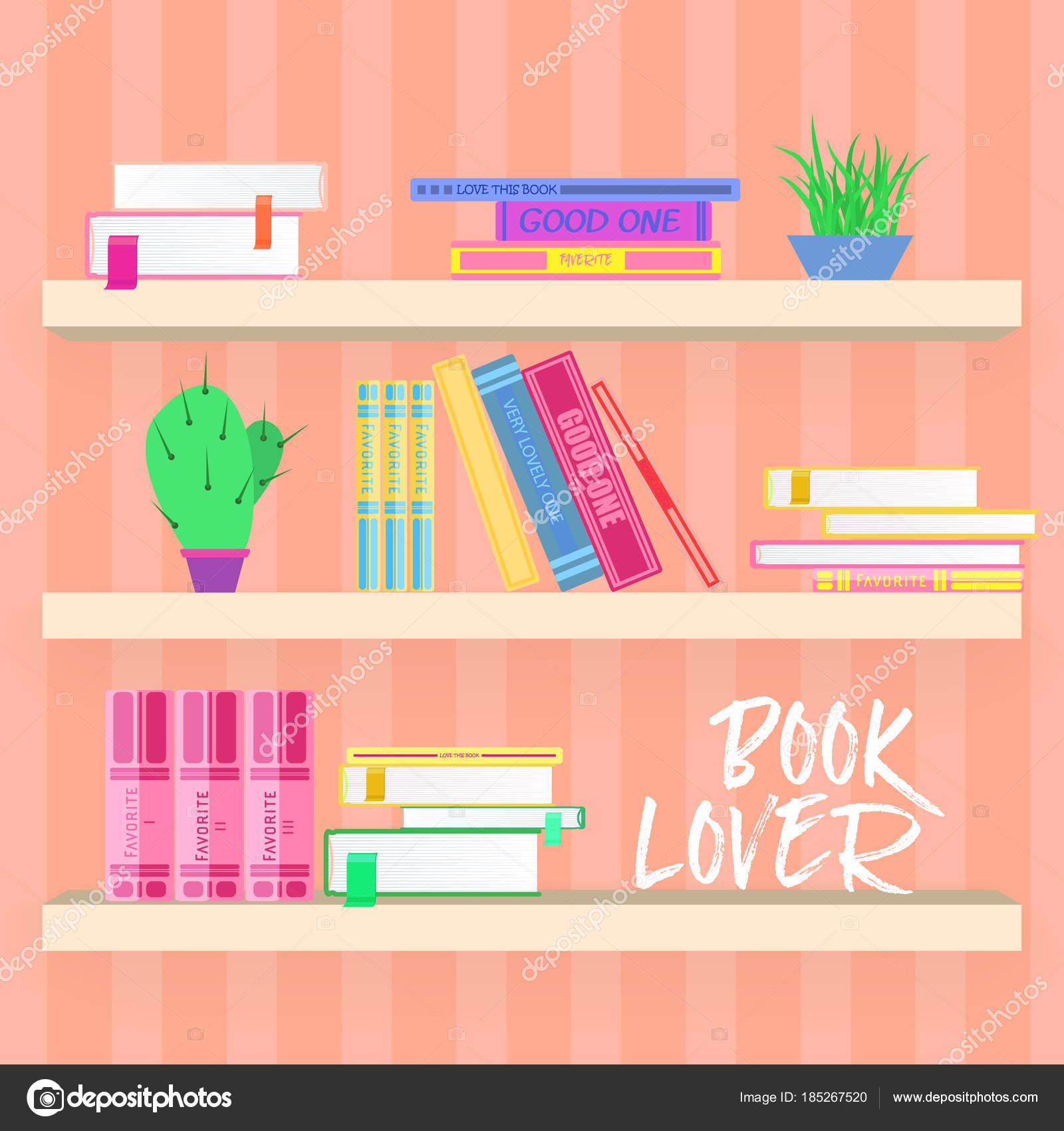 Estantes con libros coloridos y plantas en estilo de diseño plano ...