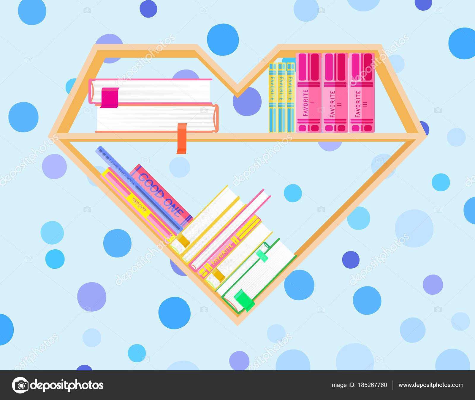 Corazón de estanterías con libros coloridos. Club de lectura de ...