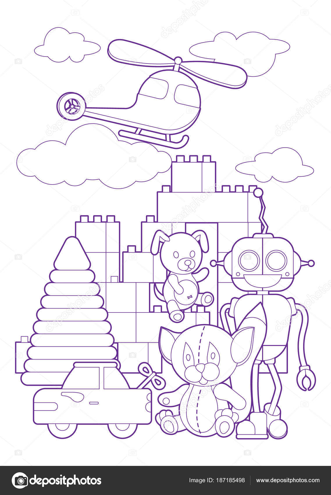 симпатичные дети игрушки раскраски страницы иллюстрации