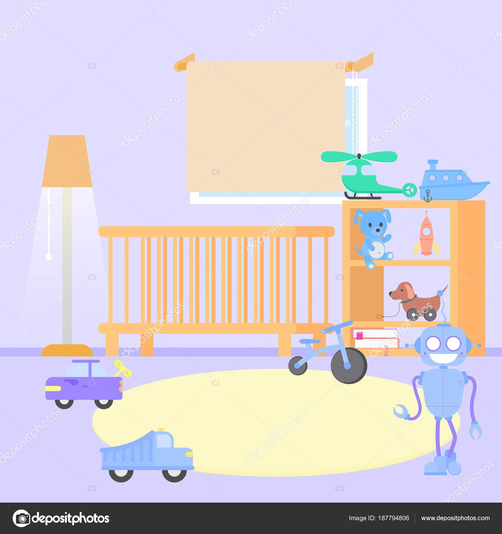 Interior de la habitación del bebé. Diseño plano. Habitación de bebé ...