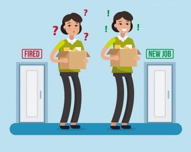 Dismissed woman. New job.
