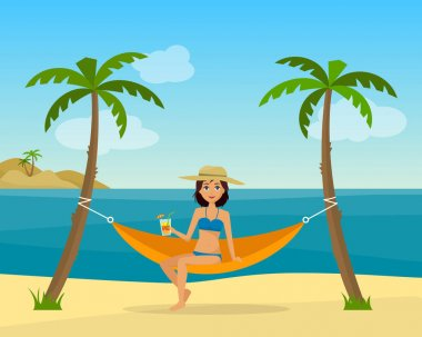 Girl in swimsuit in hammock with palm