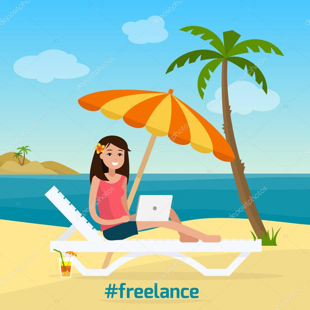 Freelancer woman with computer