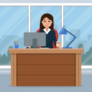Business woman on the table in office.