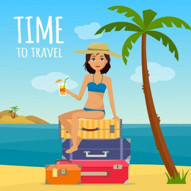 Baggage, luggage, suitcases and girl in swimsuit with cocktail on tropical background.