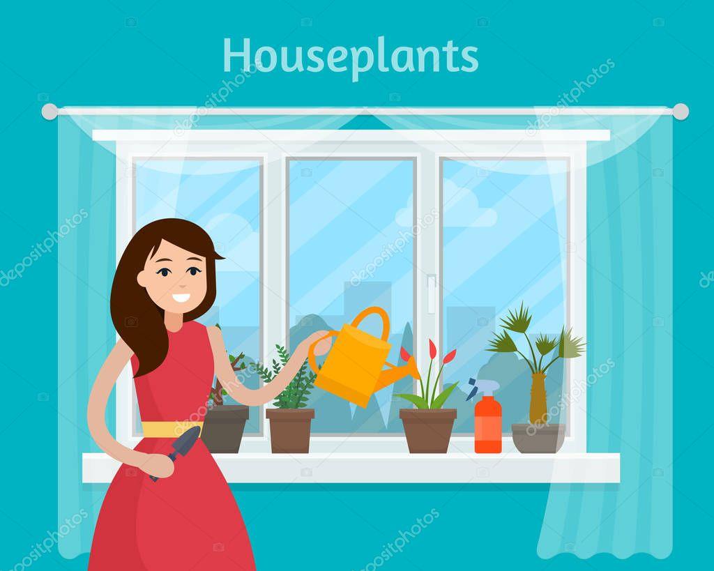 Girl watering house plants on window.