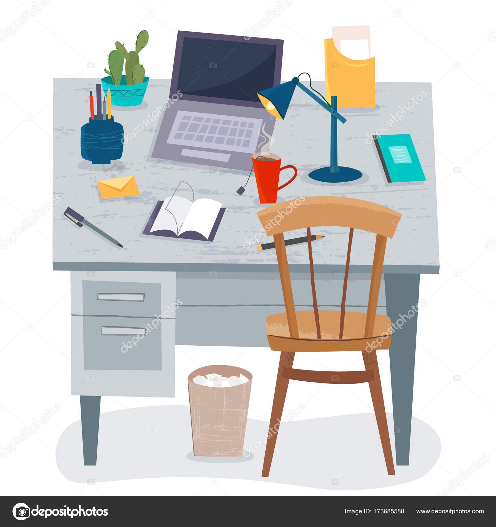 Zu Hause Am Arbeitsplatz. Freier Mitarbeiter Im Büro. Objekte Auf Dem  Holztisch. Cartoon Flaches Design U2014 Vektor Von Elvetica