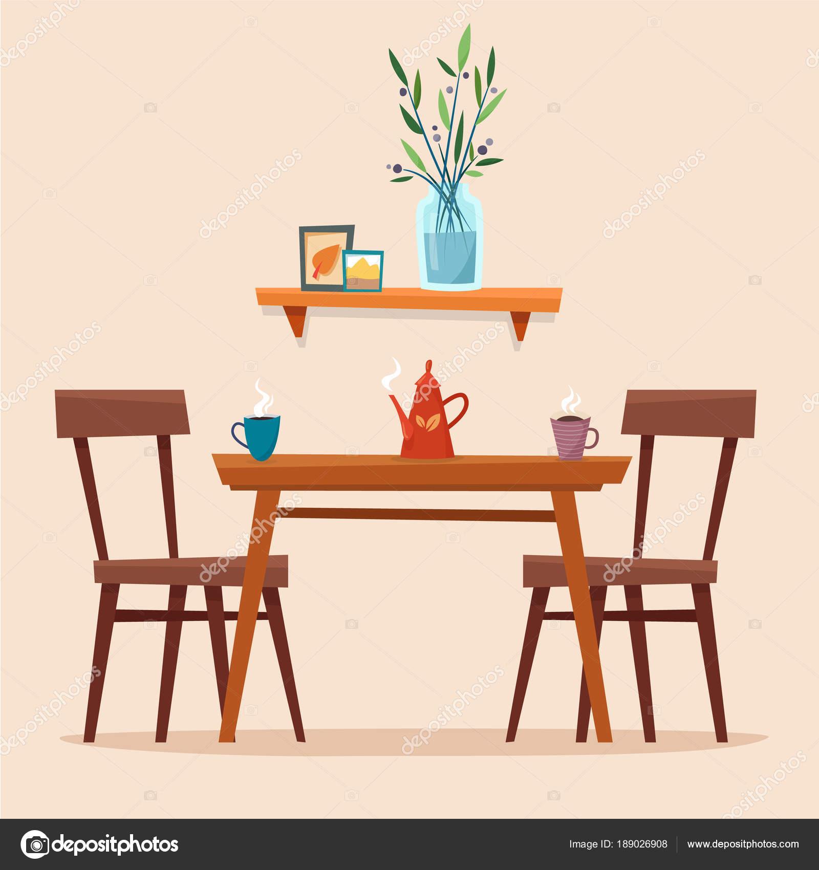 Tavolo da pranzo in cucina con sedie — Vettoriali Stock © Elvetica ...