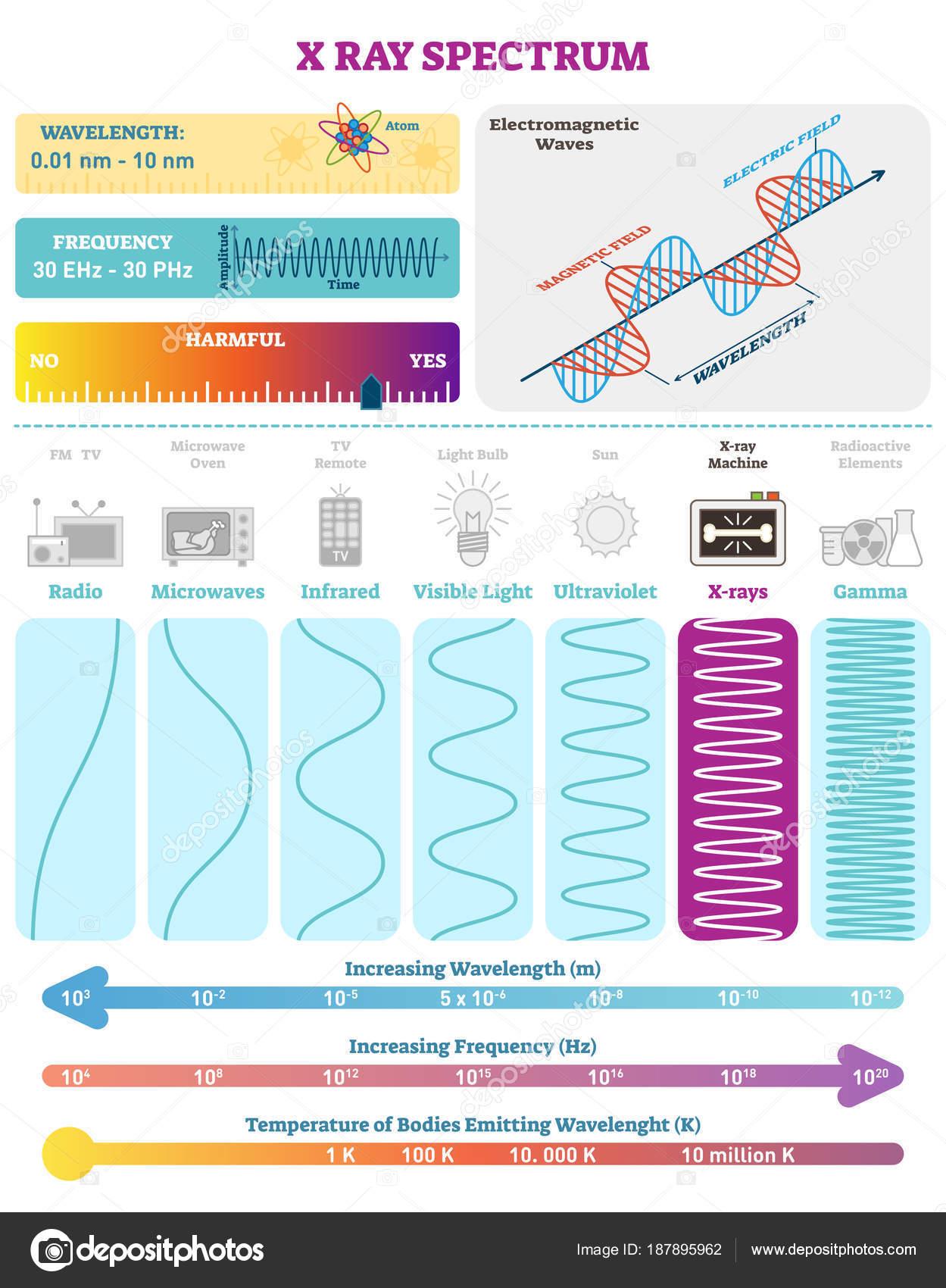 Ondas electromagnéticas: Espectro de onda rayos x. Diagrama de la ...