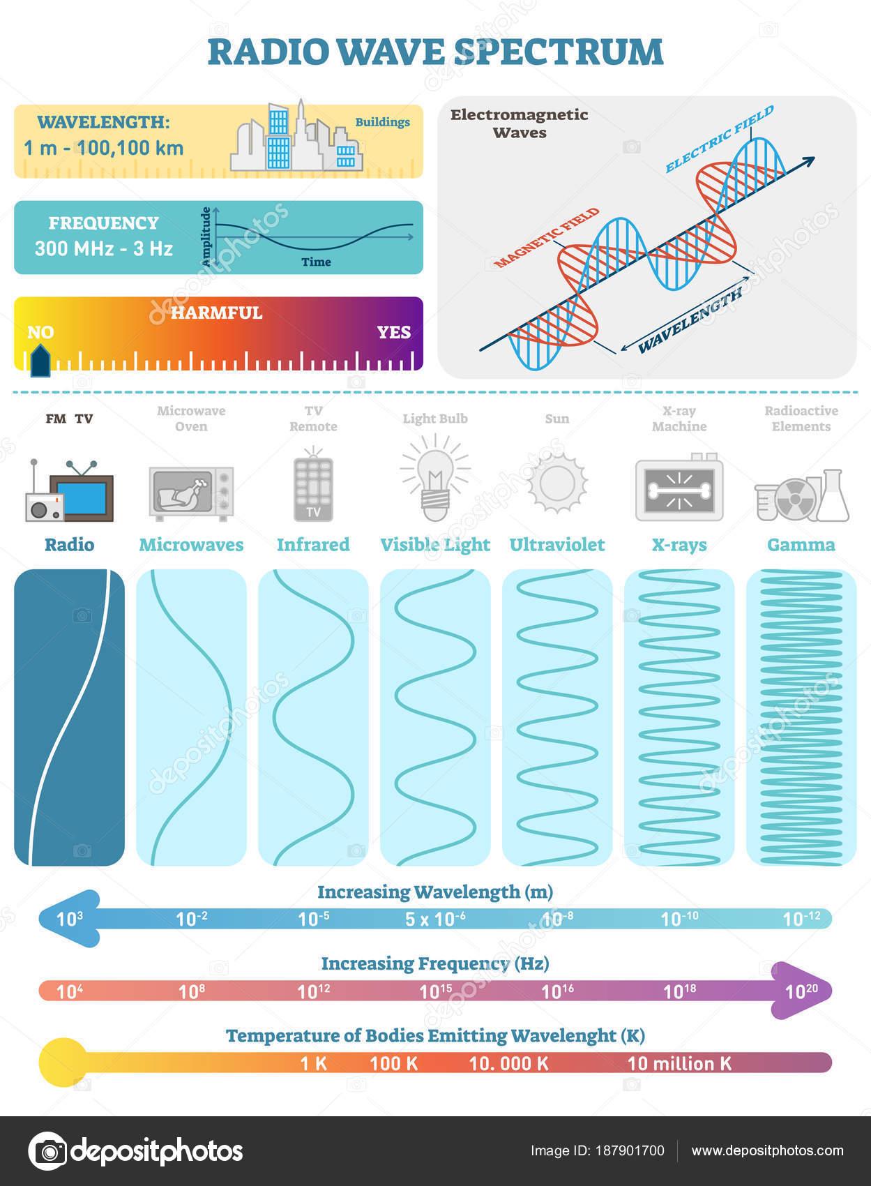 Ondes électromagnétiques : spectre d\'ondes Radio. Diagramme d ...