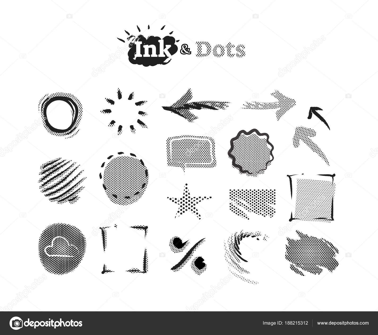 Puntos de semitono Resumen colección de elementos de diseño gráfico ...