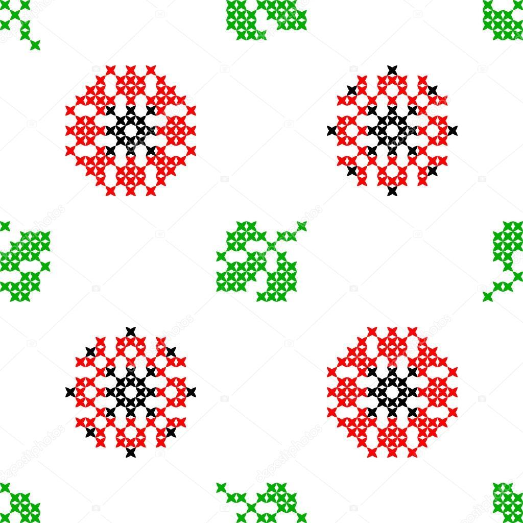 Sin costura bordado textura de abstractos flores y hojas — Vector de ...