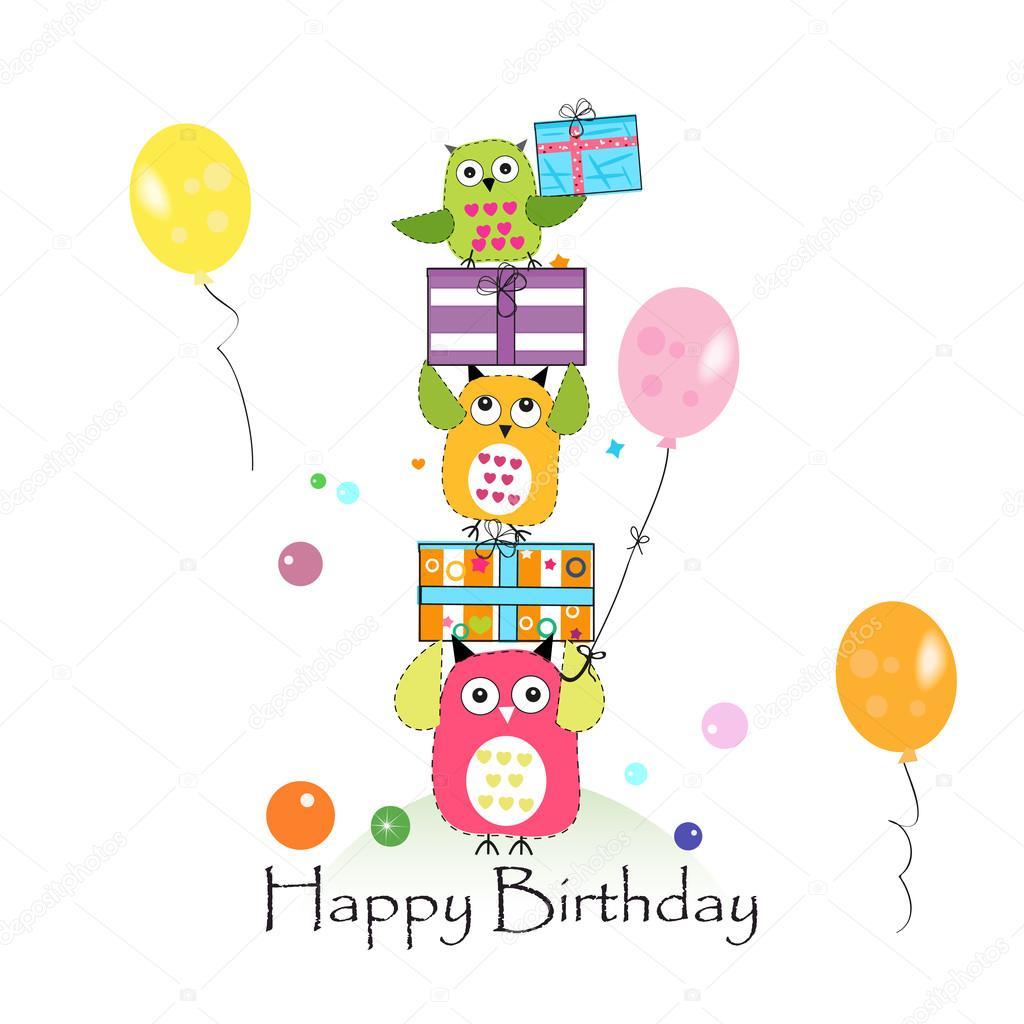 gratulationskort bebis Grattis på födelsedagen med ugglor och presentask. Bebis  gratulationskort bebis