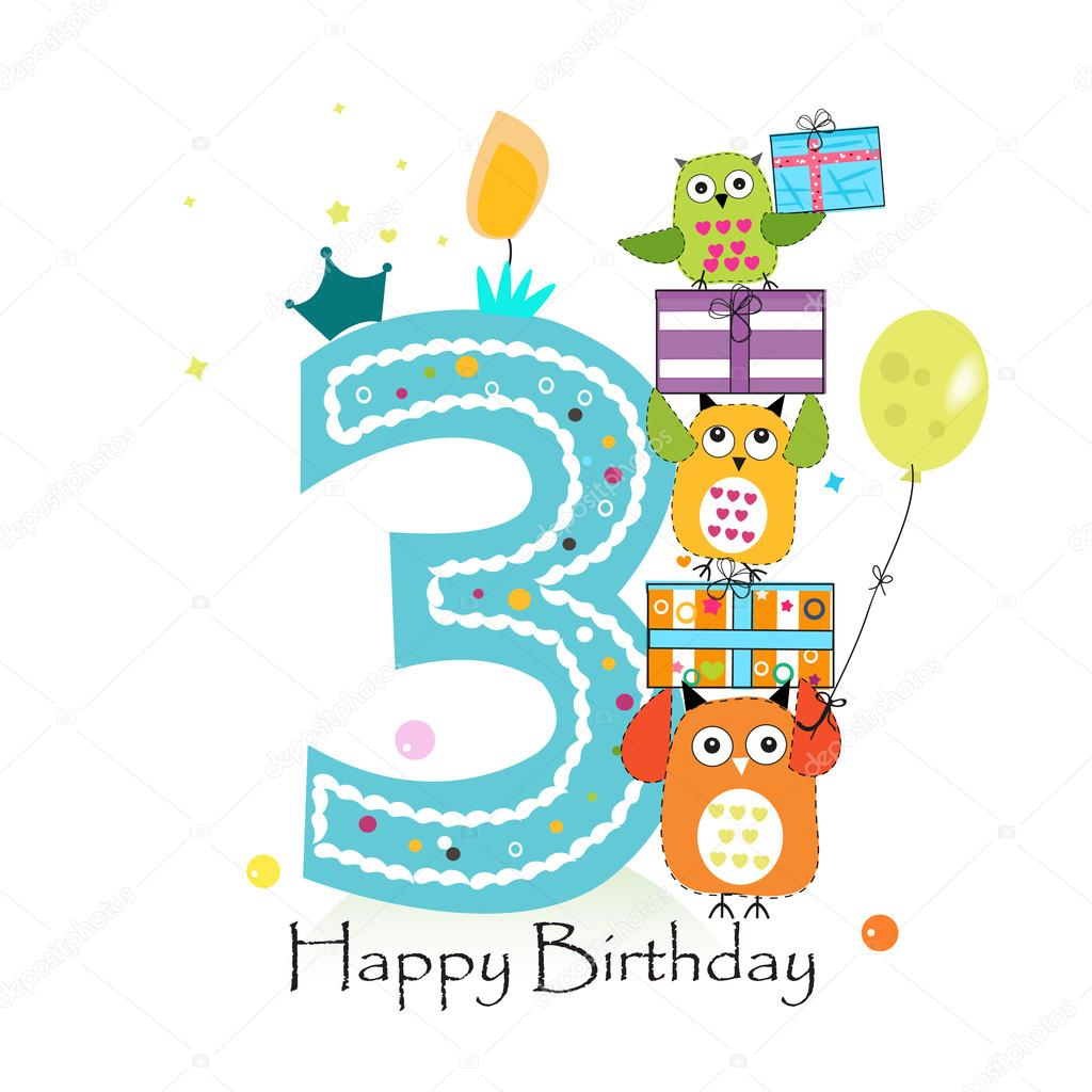 Happy third birthday with owls and gift box baby boy birthday happy third birthday with owls and gift box baby boy birthday greeting card vector illustration bookmarktalkfo Choice Image