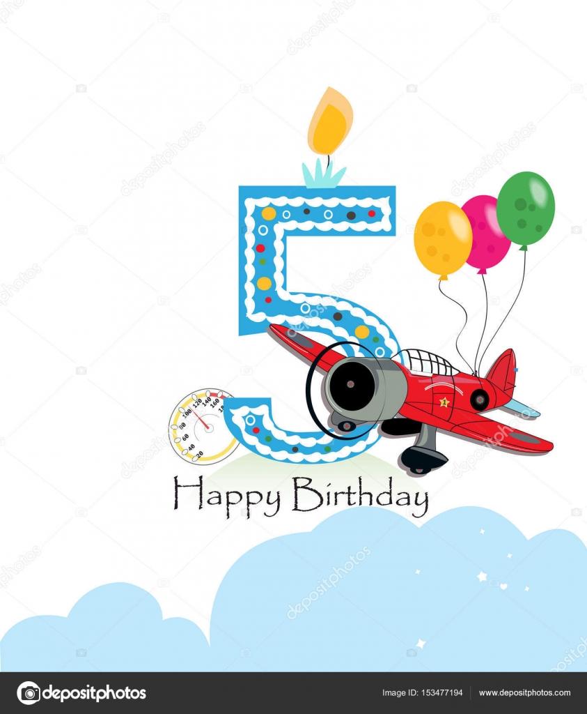 Fifth Birthday Greeting Card Air Plane And Balloon Happy Birthday