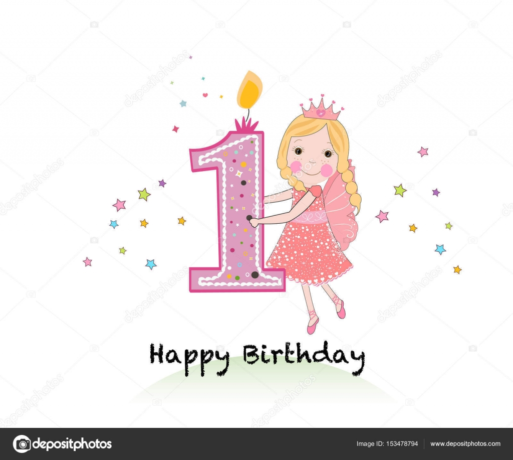 First Birthday Candle With Animals Stock Photo: Happy First Birthday Candle. Girl Greeting Card With Cute