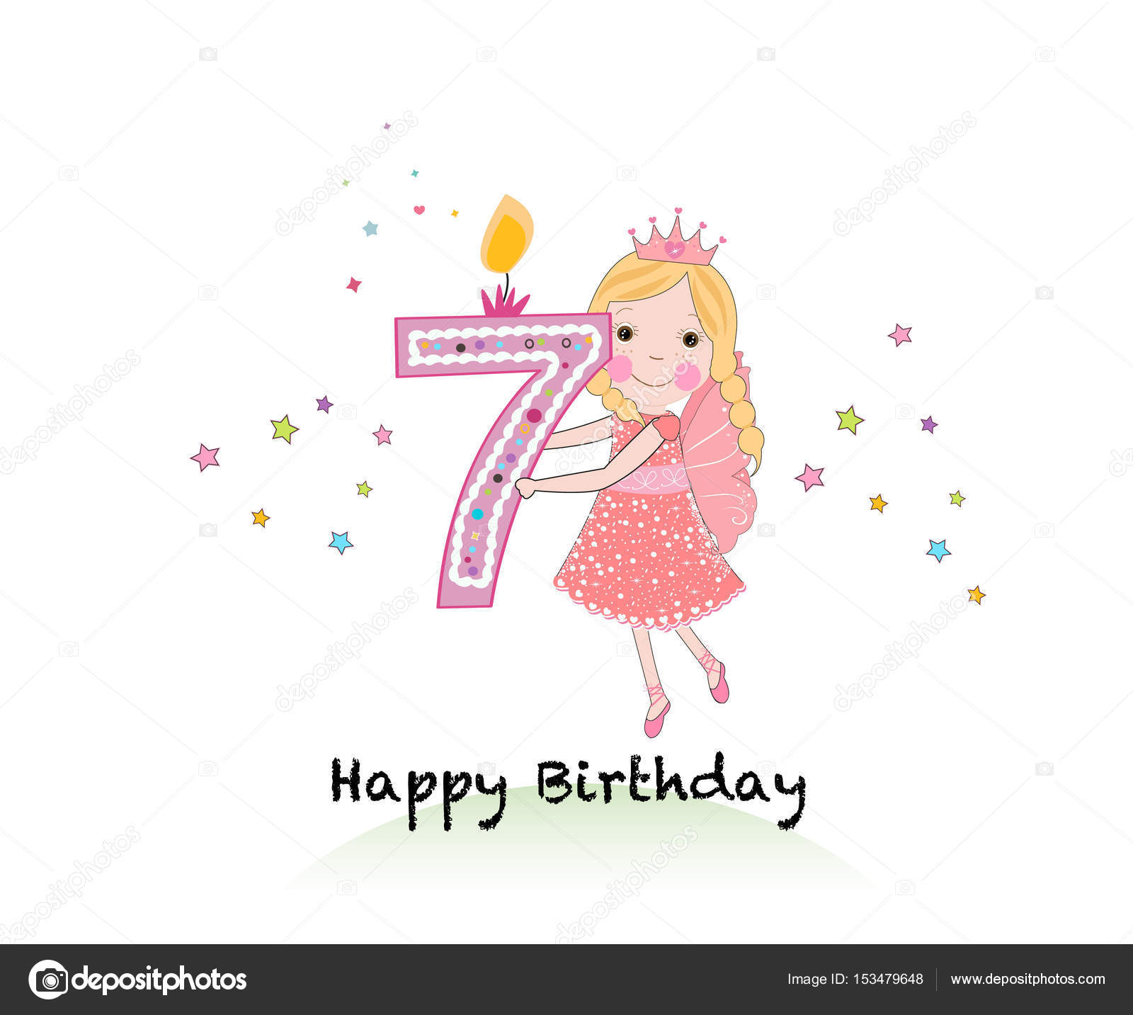 Happy Seventh Birthday Candle Girl Greeting Card With Cute Fairy Tale Holding Seven Number Vector
