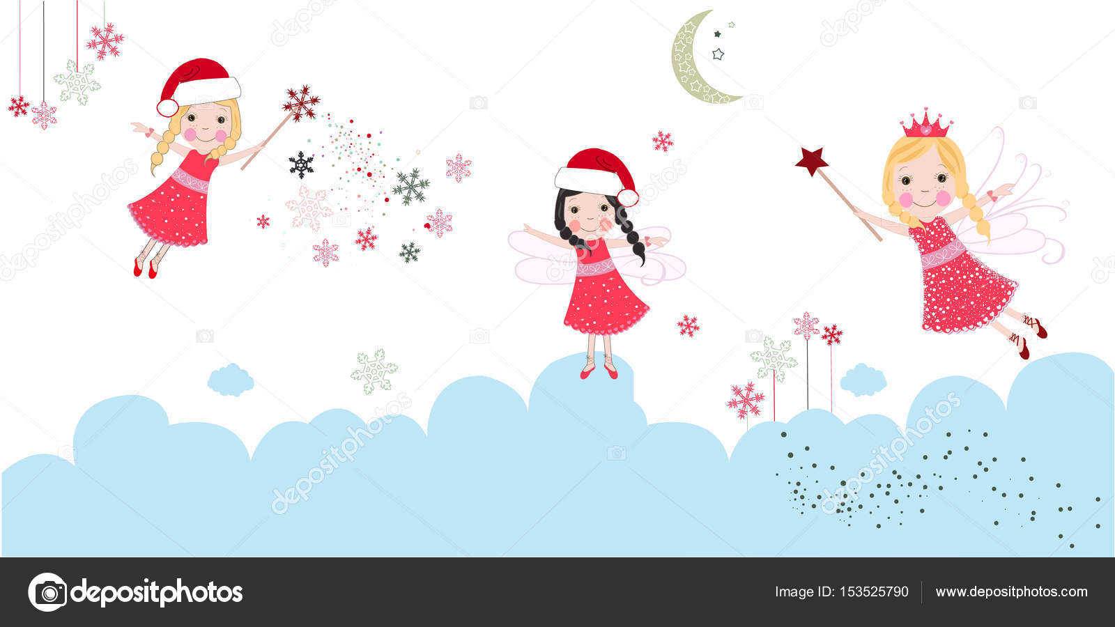 Cute Christmas Angels Merry Christmas Greeting Card — Stock Vector ...