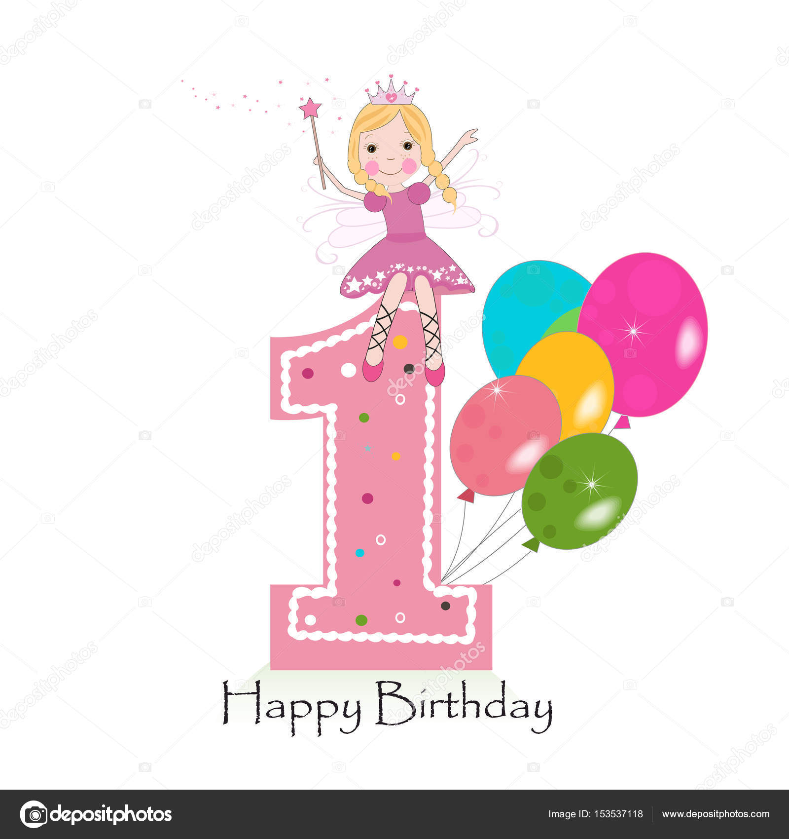 Happy first birthday greeting card cute fairy tale vector happy first birthday greeting card cute fairy tale vector illustration stock vector m4hsunfo