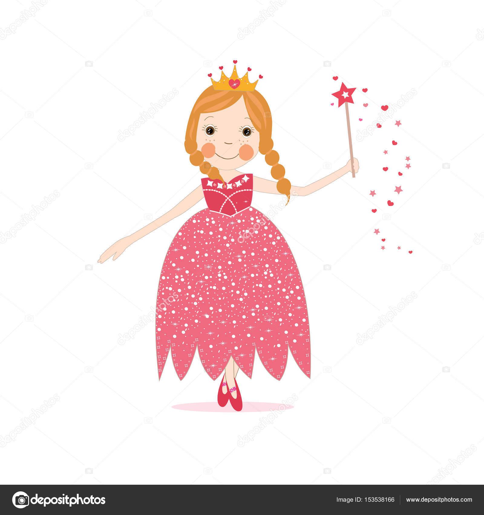 Ilustración de vector de poco lindo vestido rojo de princesa ...