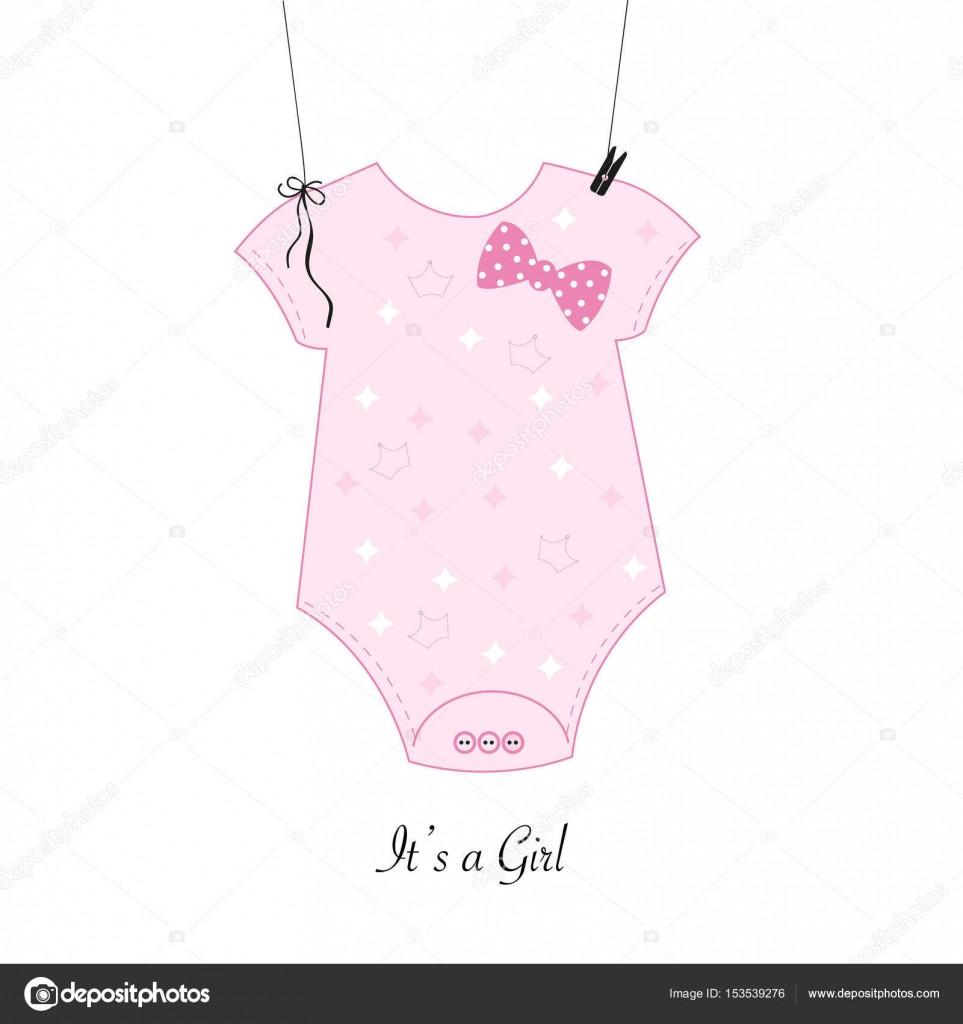 Baby shower invitation. Baby girl body girl symbol greeting card ...
