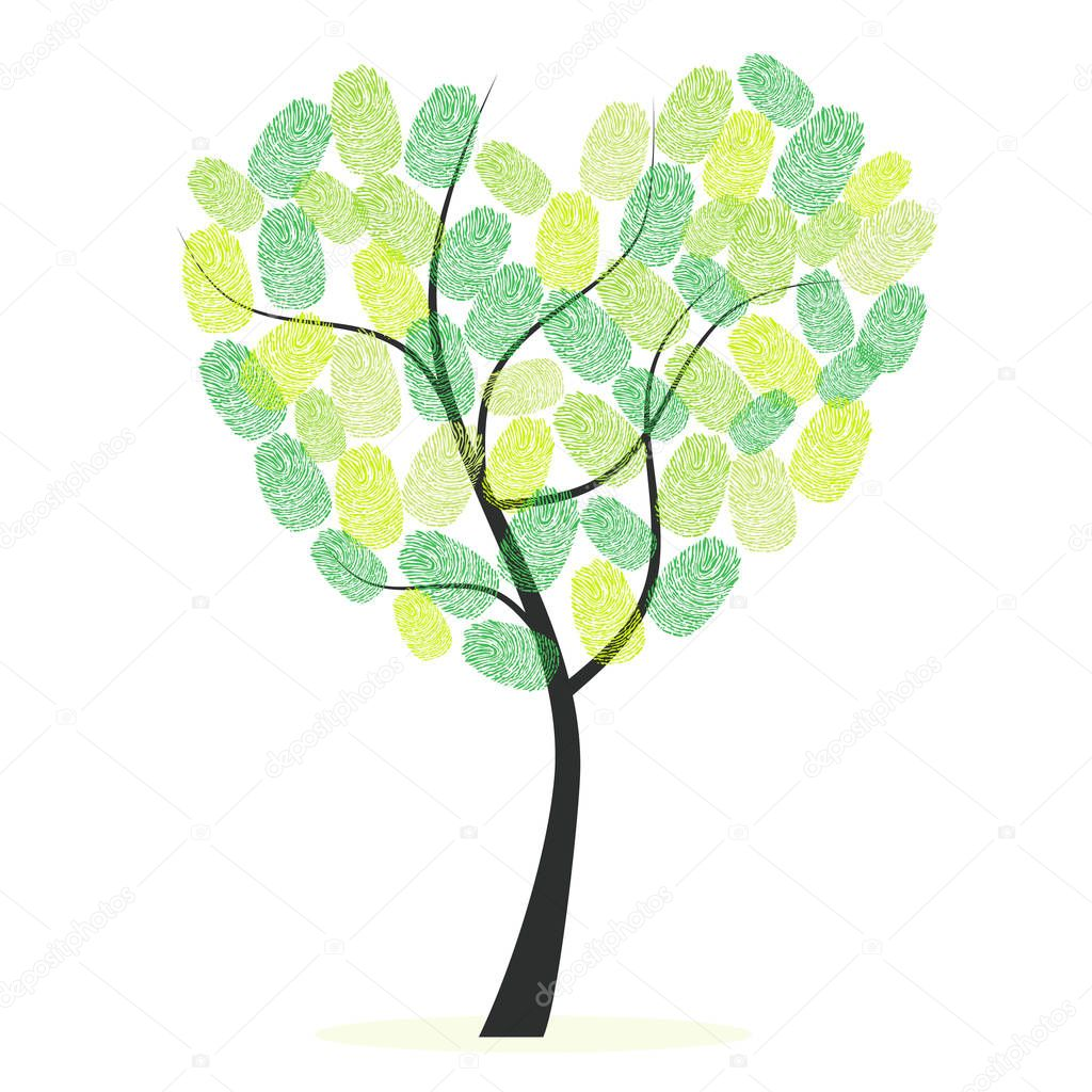 Heart tree with green finger prints vector