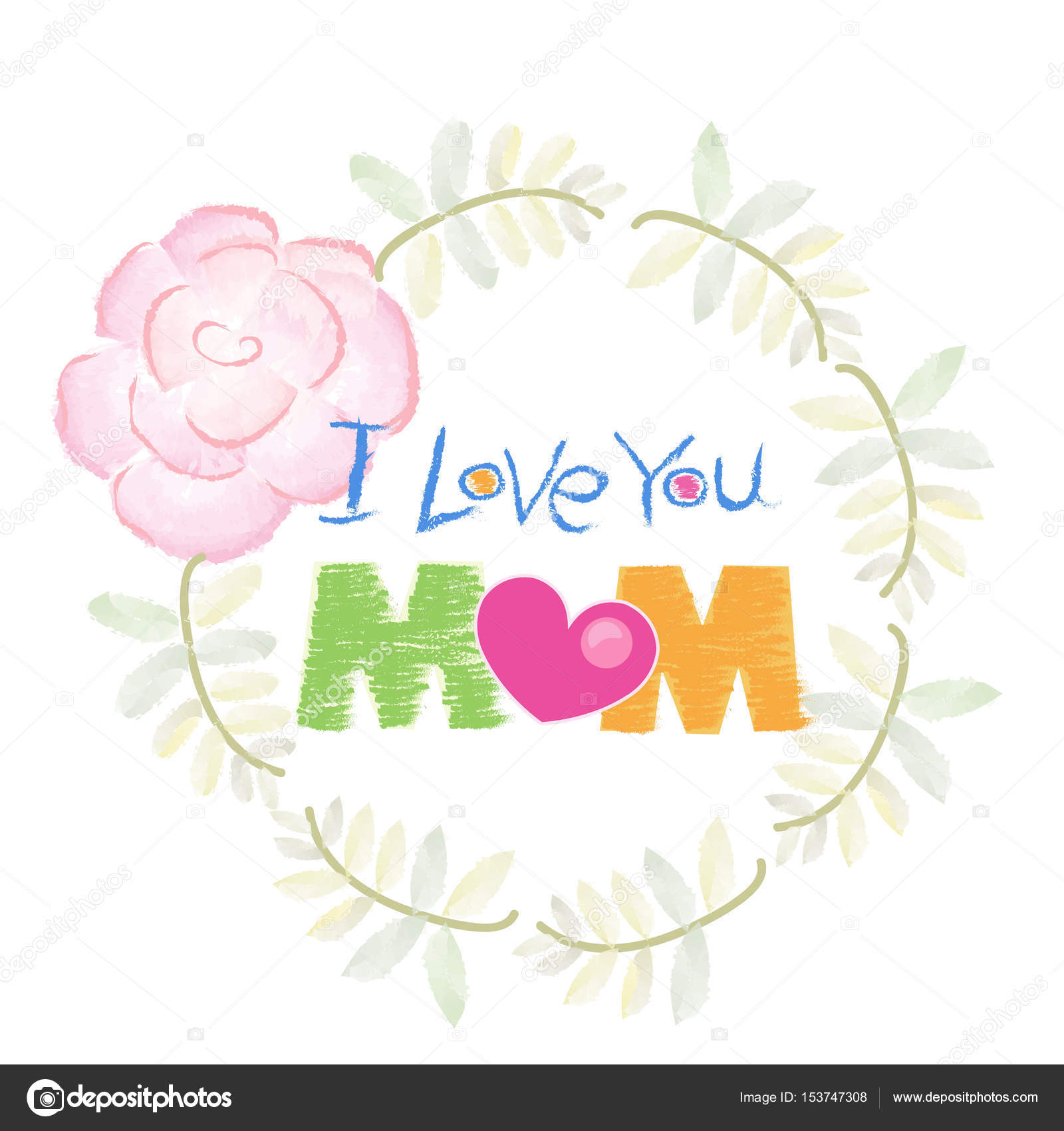 Handwriting Love You Mom Written Mother Day Greeting Card Watercolor ...