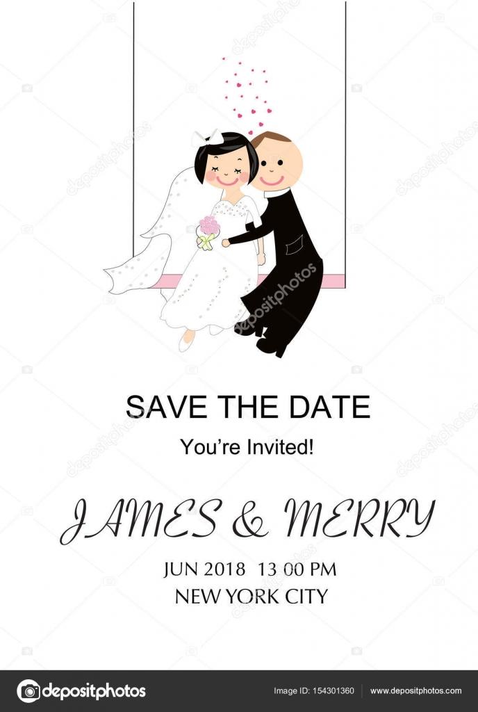 Wedding invitation card funny wedding couple swinging bride and wedding invitation card funny wedding couple swinging bride and groom vector background greeting card m4hsunfo