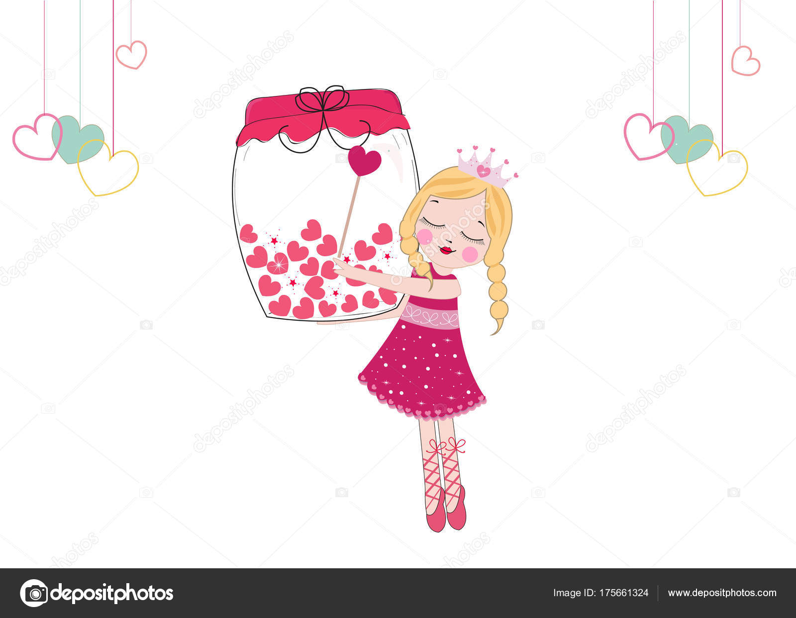 Cute Fairy Girl Heart Filled Jar Happy Valentine Day Vector Stock