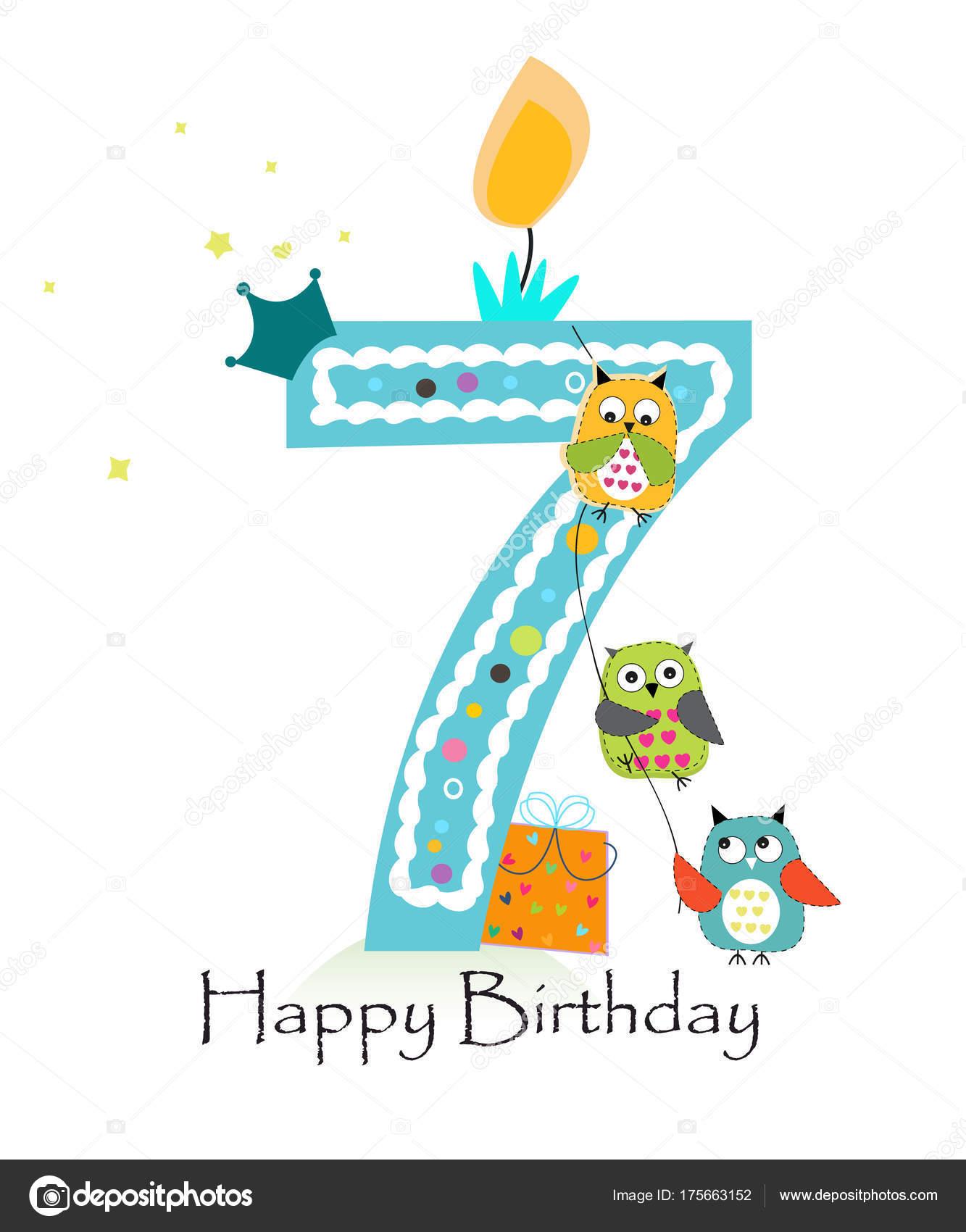 Happy seventh birthday owls baby boy greeting card vector stock happy seventh birthday owls baby boy greeting card vector stock vector m4hsunfo