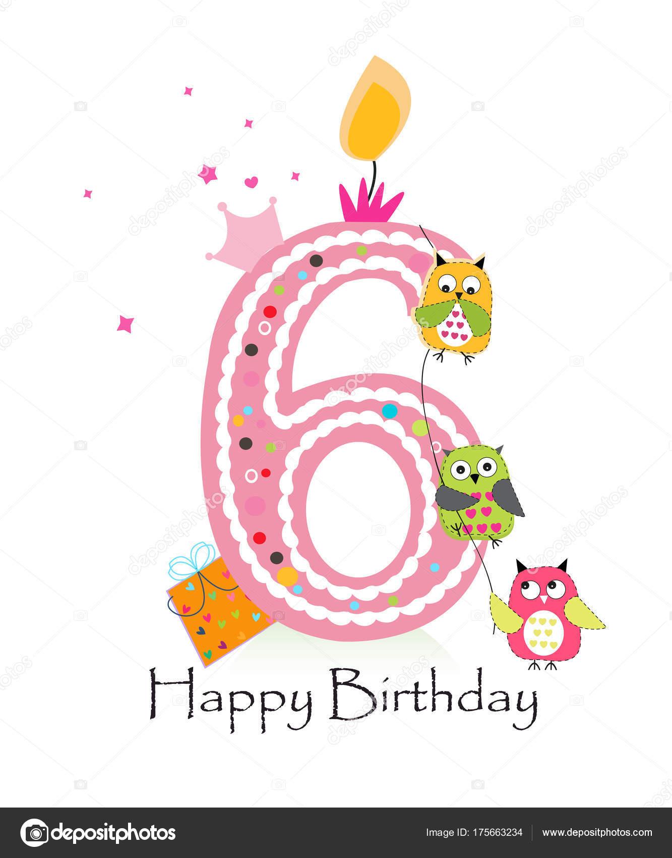 Happy Sixth Birthday Owls Baby Girl Greeting Card Vector Stock